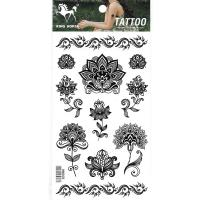 HM808 Nine different size small black flowers girls wrist ankle tattoo stickers