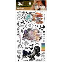 HM815 Unicorn black butterfly fish dream catcher music symbol girl wrist ankle tattoo sticker