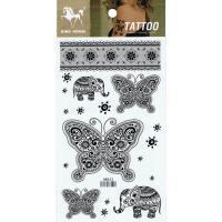 HM842 Black butterfly elephant lace design body art tattoo sticker
