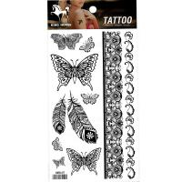 HM849 Black flower butterfly feather bracelet tattoo sticker