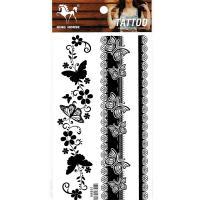 HM851 Black flower vine butterfly bracelet tattoo sticker