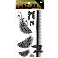 HM855 3D black feather bracelet tattoo stickers