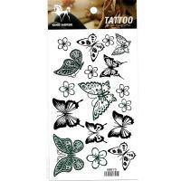 HM870 Ten butterfly seven flower tattoo sticker