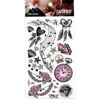 HM877 Music symbol diamond heart shaped dream catcher pentagram clock rose wings tattoo stickers