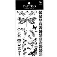 HM892 Black dragonfly butterfly flower  tattoo sticker