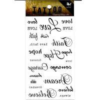 HM900 Black English word LOVE tattoo sticker