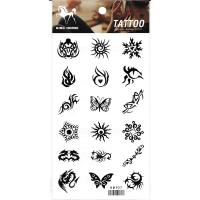 HM927 Eighteen different small mini dragon butterfly sun scorpion black tattoo sticker in one paper