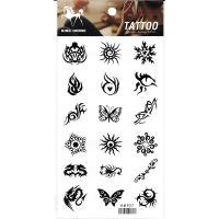HM927 Eighteen different small mini dragon butterfly sun scorpion black tattoo sticker in one paper