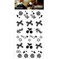 HM938 hot sales mini black color flower bowknot cherry tattoo sticker