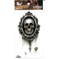HM965 waterproof temporary black skull tattoo sticker