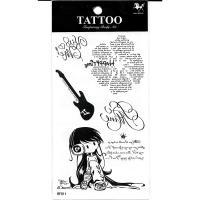 RF11 waterproof temporary black english text tattoo sticker listen music girl fake tattoo sticker