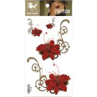RF114 New fashion waterproof temporary red flower body art tattoo sticker for girl